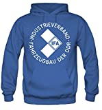 IFA Männer und Herren Kapuzenpullover | DDR Trabant Wartburg Simson | M1 (Blau, XXL)