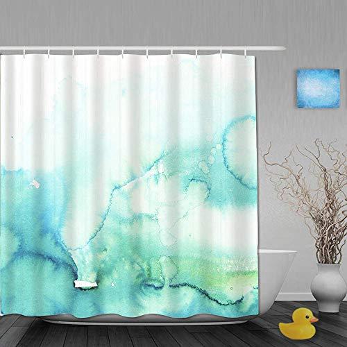 NA Duschvorhang, blaugrün Aquarell Türkis Minze Ombre Hand Blau Farbverlauf Wasser, Stoff Stoff Badezimmer Dekor Set mit Kunststoffhaken