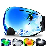 Zerhunt Ski Goggles, Snowboard Goggles Over Glasses, Anti Fog UV Protection Snow Goggles OTG Interchangeable...