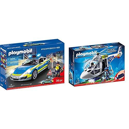 PLAYMOBIL 70067 City Action Porsche 911 Carrera 4S Polizei, bunt & City Action 6874 Polizei-Helikopter mit LED-Suchscheinwerfer, Ab 4 Jahren