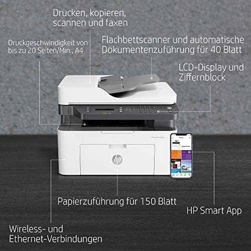HP Laser MFP 137fnw - Impresora láser multifunción, monocromo, Wi-Fi, Ethernet (4ZB84A)