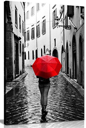 Frau mit Rot Regenschirm Schwarz & Weiß Leinwand Wand Kunstdruck Bild, schwarz / rot / weiß, A0 91x61cm (36x24in)