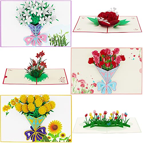 Pop Up Card, 6 Pieces Flower 3D Greetings Card- Thank You Cards with Envelopes,Mother's Day Card, Card for Wife, Card for Mom, Birthday Card,Fathers Day Card, Spring Card,Anniversary Card, Love Card, Valentine Cards, All Occasions