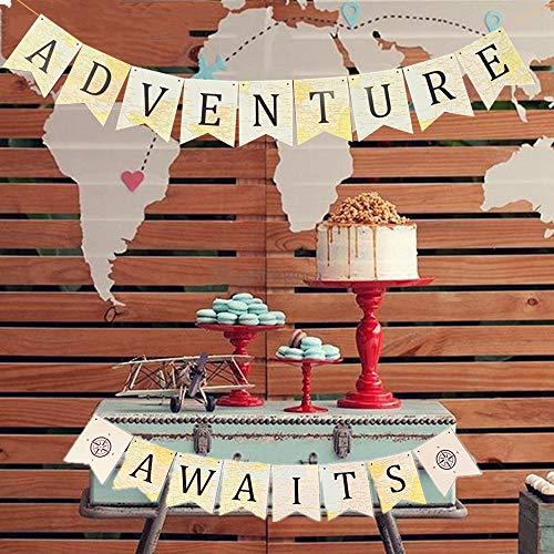 JeVenis Adventure Awaits Banner Bon Voyage Banner Travel Theme Banner World Map Travel Themed Baby Shower Banner Vintage Atlas Map Banner for Bridal Shower Graduation Party Moving Party