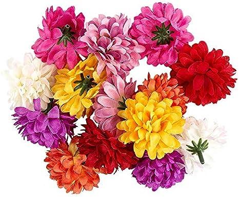 Ideen mit Herz Deko-Blüten, Kunstblumen, Blüten-Köpfe, Verschiedene Sorten,  ca. Ø 9-9 cm (Dahlie - bunt - 19 Stück)