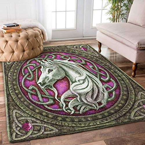 Unicorn Rug - Celtic Unicorn Rug Home Decorative Special Design Washable Thin Anti-Skid Printed Area Rug (2x3, 3x5, 4x6, 5x8)