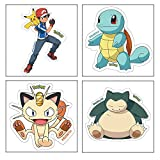 Pokemon Myesha Toys Small Size Sticker Pack of 4 Sticker Sheet of Comic and Cartoon Characters (Ash & Pikachu, Squirtle, Meowth and Snorlax).