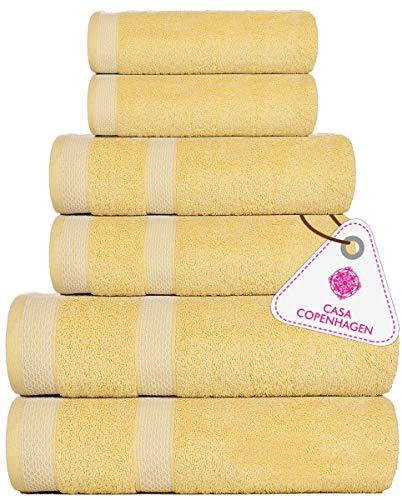 Casa Copenhagen Solitaire Luxury Hotel & Spa Quality, 600 GSM Premium Cotton, 6 Piece Towel Set, Includes 2 Bath Towels, 2 Hand Towels, 2 Washcloths, Yellow Irish