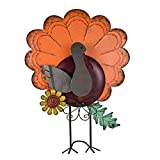 ALLADINBOX Metal Free Standing Turkey Decoration for Autumn Fall Thanksgiving Harvest Yard Decoration (14.5 Inch)