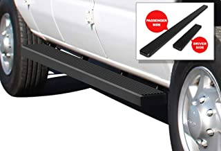 APS iBoard Running Boards (Nerf Bars Side Steps Step Bars) Compatible with 1999-2014 Ford Econoline Full Size Van (Black Powder Coated 5 inches)