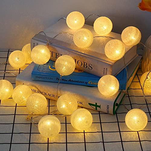 Cotone LED Catena Luminosa 3.5M 20 Sfere, Ghirlanda Luminosa Cameretta, Giallo, Cotone LED Catena Luminosa Interno per Decorazione Interna, Come Natale, Matrimonio, Festa, Stanza, Tenda-Batteria