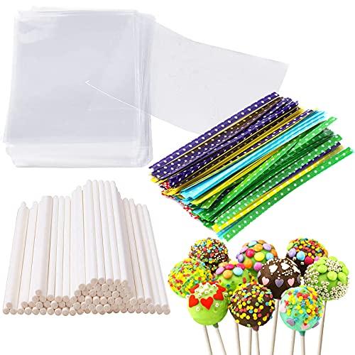 6 Inches Cake Pop Maker Kit 100Pcs Cake Pop Sticks 100Pcs Cake Pop Bags and 100Pcs Colorful Circle Dot Twist Ties Total 300 Packs Lollipop Candy Making Tools