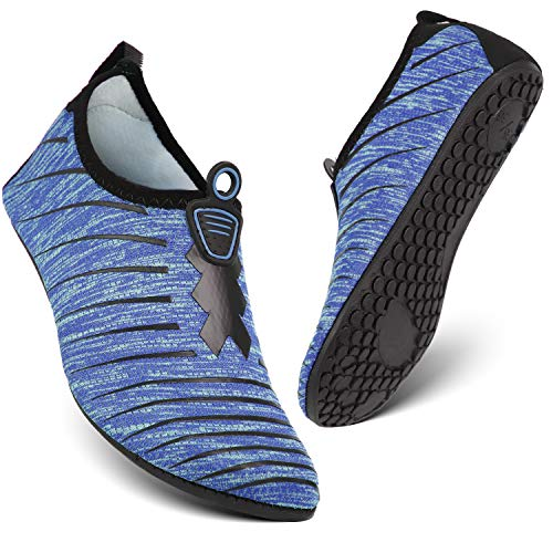 HEETA Water Sports Shoes for Women Men Quick Dry Aqua Socks Swim Barefoot Shoes for Beach Pool Surf Swim Yoga Blue & Black L