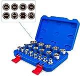 Douilles multi-empreintes Gear Lock 1/2' I 8-32 assortiment outillage Torx intérieur extérieur I kit de 19 pièces