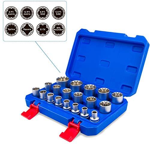 """Juego de llaves de vaso vasos insertables Gear Lock 1/2"""" 8-32 I estriados Torx, pulgadas I herramienta para vasos exteri"""