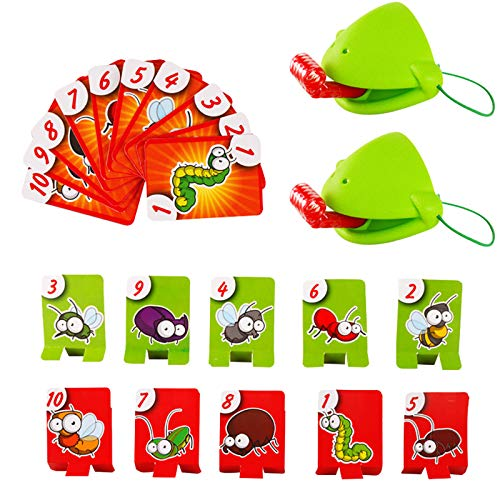 Tic Tac Tongue Game,Catch Bug Desktop Board Game Funny Family Game Interactive Toys Frog Eating Mosquito Pest Game Playing Card Novel Toys for Kids (A)