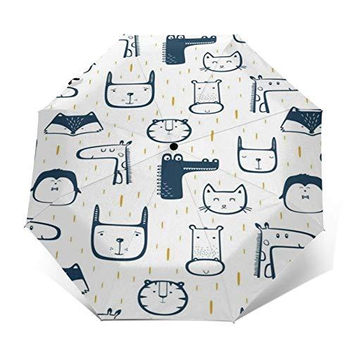 TISAGUER Paraguas automático de Apertura/Cierre,Cuadro Dibujado a Mano de Dibujos Animados Modernos,Tigre de día lluvioso,Zorro,Jirafa,pingüino,Paraguas pequeño Plegable a Prueba de Viento