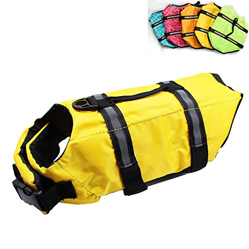 Price comparison product image Dog Life Jacket Easy-Fit Adjustable Belt Pet Saver Swimming Safety Swimsuit Preserver with Reflective Stripes for Doggie (XS,  Yellow)