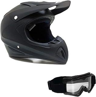 MMG 27 Motorcycle Off Road Helmet DOT - MX ATV Dirt Bike Motocross UTV - Flat Matte Black, Large. Includes Goggles