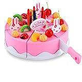Regalo del día de los niños del cumpleaños Juego del juguete del juego de la comida DIY que corta la bola de la fiesta de cumpleañosdel fingimiento para los niños Muchachas de los bebés 37pcs