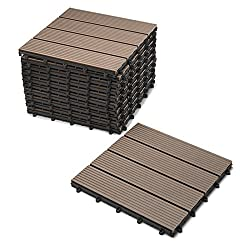 SAM WPC tiles, 30x30 cm, chocolate, 11er saving set for 1m², garden click tile, flooring with drainage