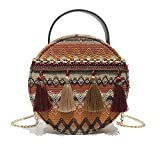 Bolso de moda , Bolso bandolera redondo tejido étnico Bolso de hombro pequeño de playa con borlas multicolor