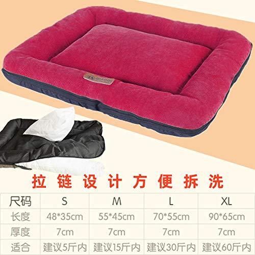 Cama para Perros de Felpa Suave y cálida Cama para Perros Cama para Dormir mullida sofá para Mascotas Perros pequeños y medianos de Varios tamaños -Rojo_Metro