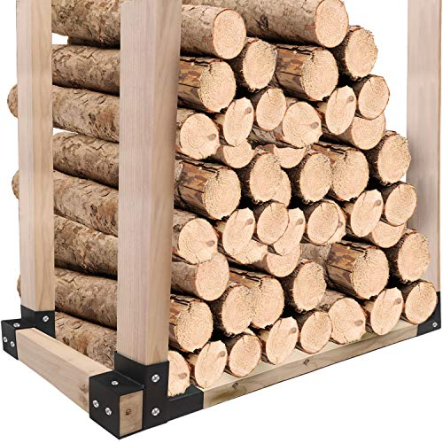 4Pack Firewood Log Rack Bracket Kit,Firewood Storage Racks,Wood Storage Racks Adjustable to Any Length,Wood Rack for Firewood for Home Camping Trips or near fireplace,Screws Include,Durable Black