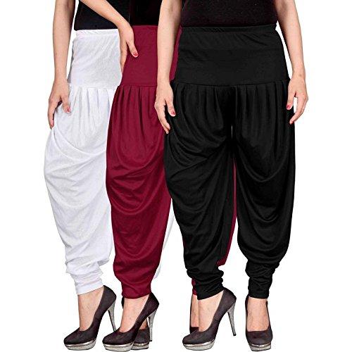 e0da9520ea CULTURE THE DIGNITY Women's Lycra Dhoti Patiala Salwar Harem Pants  CTD_00WMB_1-White-Maroon-