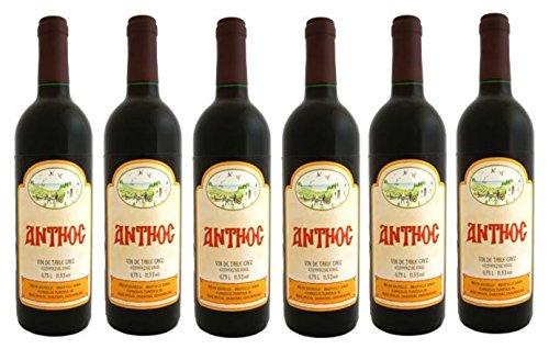 6x Anthos Rotwein Tsantali je 750ml/12% + 2 Probier Sachets Olivenöl aus Kreta a 10 ml - griechischer Rot Wein Rotwein Griechenland Wein Set