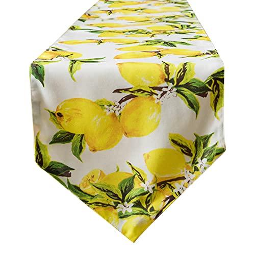 ASSR Chemin de table style bohème, triangle, motif citron, jaune et vert, double couche sur fond blanc pour table basse de cuisine, 79
