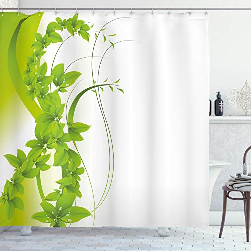 ABAKUHAUS Grün Duschvorhang, Blühende Fantasie Flora, mit 12 Ringe Set Wasserdicht Stielvoll Modern Farbfest & Schimmel Resistent, 175x200 cm, Apfelgrün Weiß