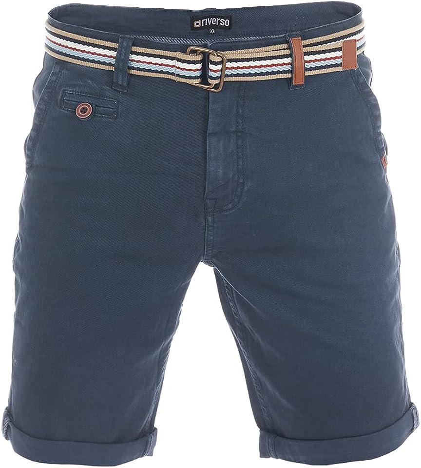 Herren Chino Shorts RIVKlaas Regular Fit Gürtel Bermuda Kurze Hose Sommer Short 98% Baumwolle Grün Rot Blau Beige Grau w30 w31 w32 w33 w34 w36 w38 w40 w42