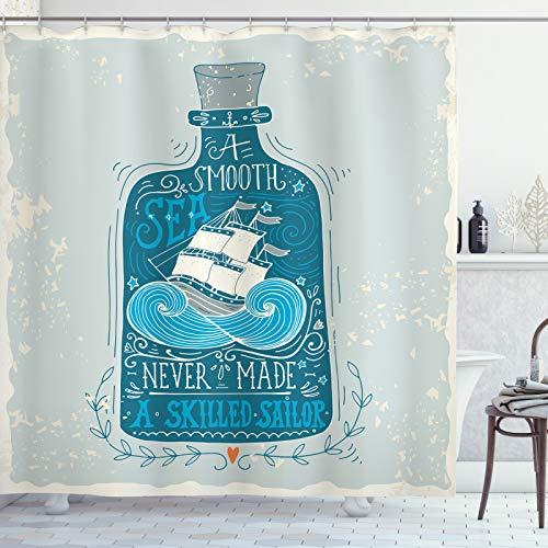ABAKUHAUS maritim Duschvorhang, Flasche mit Schiff & Text, Wasser Blickdicht inkl.12 Ringe Langhaltig Bakterie & Schimmel Resistent, 175 x 200 cm, Taupe Blau