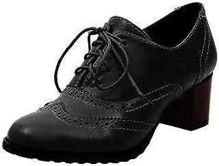 c79176f05b187d Derbies Femme Talon Cuir Brogues Chaussure Plateforme Derby Lacets  Mocassins Bloc Talons 6cm Cheville Chaussures De