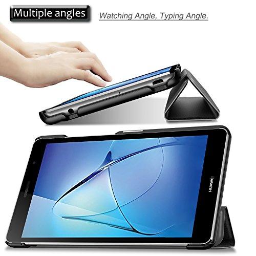 INFILAND Huawei MediaPad T3 7 WiFi Hülle Case, Ultra Dünn Superleicht Ständer Cover Schutzhülle Tasche für Huawei MediaPad T3 7 WiFi Tablet(NOT for Huawei MediaPad T3 7 LTE)(Schwarz) - 3