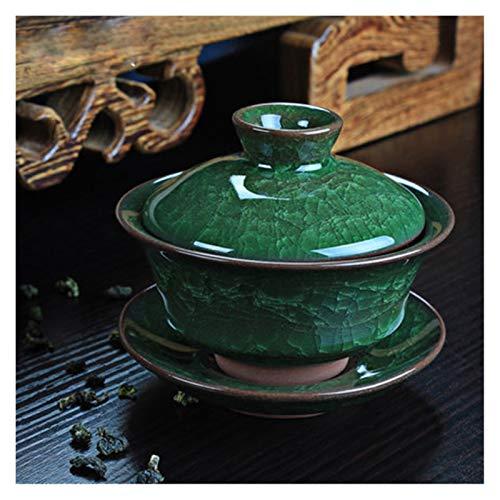 Red plum GAOHEREN Kaffee Tee Sets EIS Crack Keramik Teekanne Gaiwan Teetasse Chinesische Kung Fu Tee Sets (Color : Green)