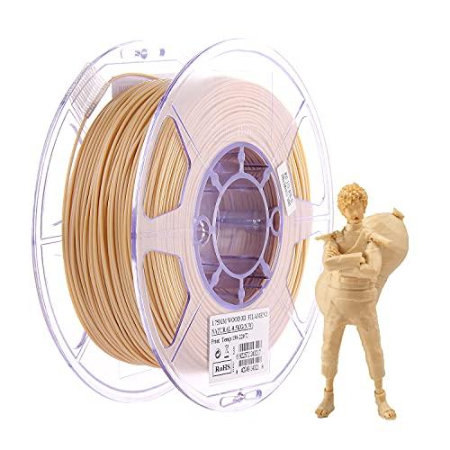 eSUN Wood PLA Filament 1.75mm, Wood PLA 3D Printer Filament, 0.5KG Spool 3D Printing Filament for 3D Printers, Wood Color