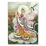 GuoQiang Zhou Avalokitesvara Bodhisattva Thangka - Lienzo decorativo para pared (50 x 70 cm), diseño de budismo