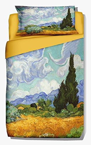 copripiumino singolo 240x155 Deco Italia Set Copripiumino copriletto Van Gogh Campo di Grano 100% Cotone   Singolo 155 x 240 cm + Federa 50 x 80 cm