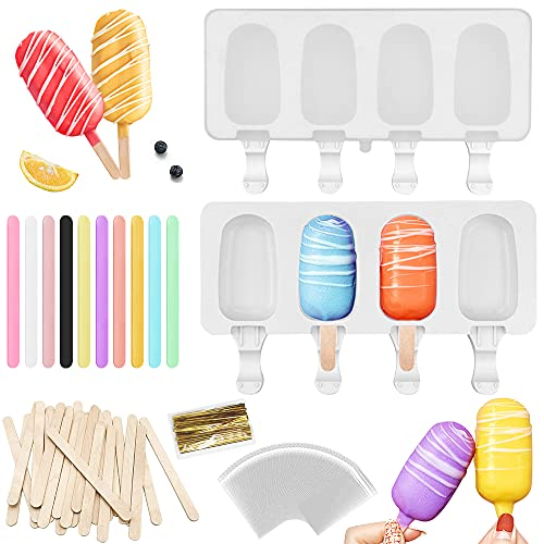 Nialnant Popsicle Molds with Lid, 2 Pack Silicone Ice Pop Molds for Kids Mini Cakesicle Mold, 4 Cavities Homemade Ice Cream Cake pop Mold for Kids (White)