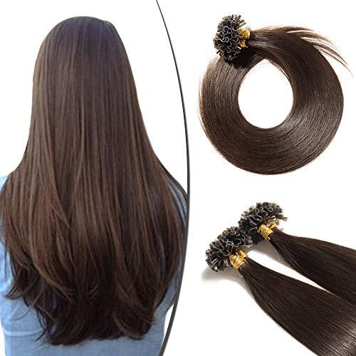 Extension Cheveux Naturel Kératine 100 Mèches 50g - Rajout Vrai Cheveux Humain Lisse (#02 Brun, 60 cm)