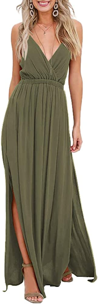 DYMADE Women's Maxi Dress Casual Strappy Sleeveless Deep V Neck Split Long Dress