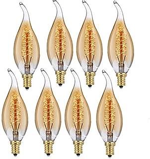8Pack Edison Light Bulb Vintage Incandescent Chandelier Light Bulbs 60W 110-130V Bent Flame Tip Light Bulb with Candelabra Base (E12) Home Light Fixtures Decorative, Dimmable Warm White Spiral Filame