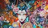 PQGHJ Rompecabezas Rompecabezas 1000 Piezas Rompecabezas Populares Resumen Japón Mujer Imagen Adultos Rompecabezas de Madera Habitación para niñas Oficina en casa Decoración de Pared Mural
