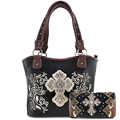 Justin West Embroidery Floral Rhinestone Silver Cross Laser Cut Tooled Leather Western Shoulder Concealed Carry Handbag Purse Messenger Bag Tote Wallet (Black tote and wallet)