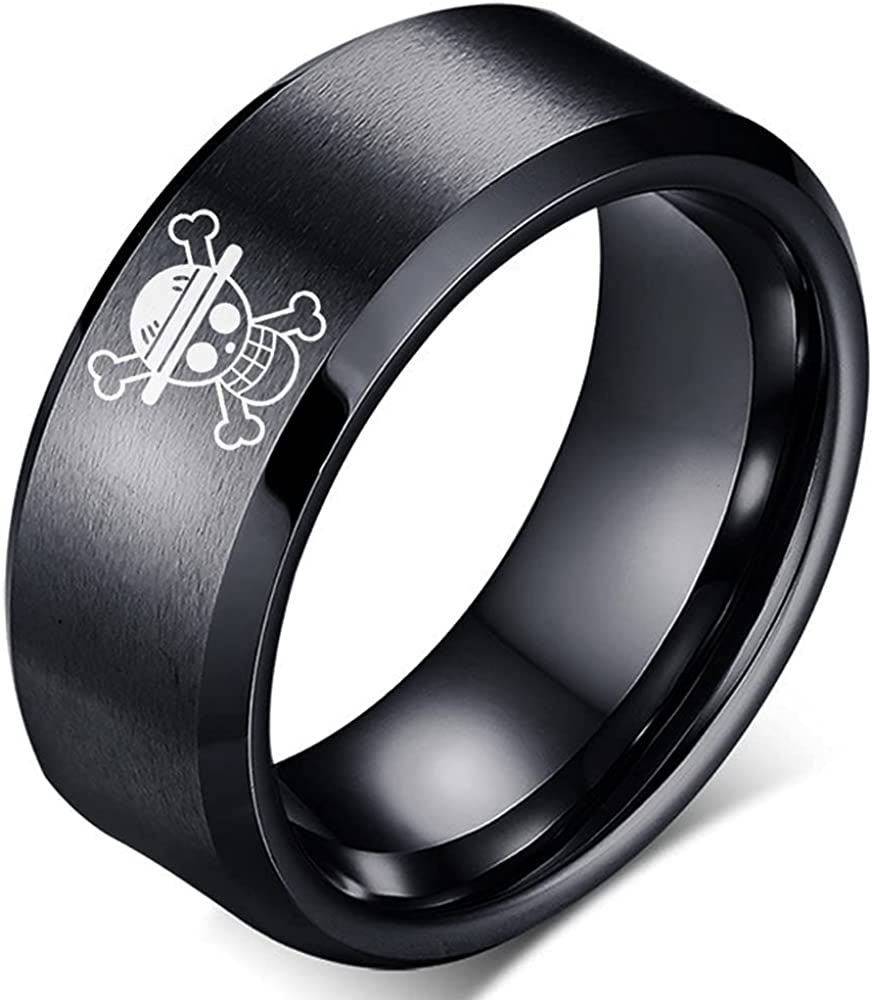 One Piece Ring Anime Rings for Men Straw Hat Luffy Black