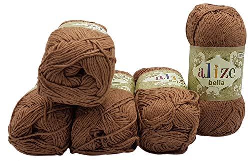 5 ovillos de 50 gramos de lana Alize Bella de algodón monocolor,...