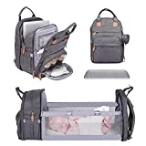 Baby Diaper Bag Backpack with Changing Station, Portable Travel Bassinet with Waterproof Changing Pad for Boys Girls, Pacifier Case and Stroller Straps, Large Lightweight Backpack for Moms Dads