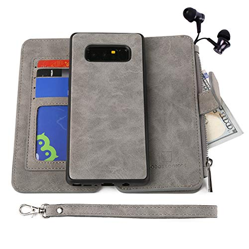 MODOS LOGICOS Case for Samsung Galaxy Note 8, [Detachable Wallet Folio][2 in 1][Zipper Cash Storage][14 Card Slots 1 Photo Window] PU Leather Purse with Removable Inner Magnetic TPU Case - Grey